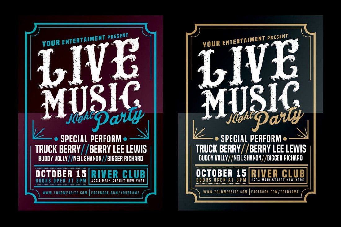Live Music Typography Poster Flyer