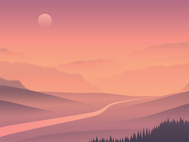 28 живописных пейзажных иллюстраций с яркими цветами