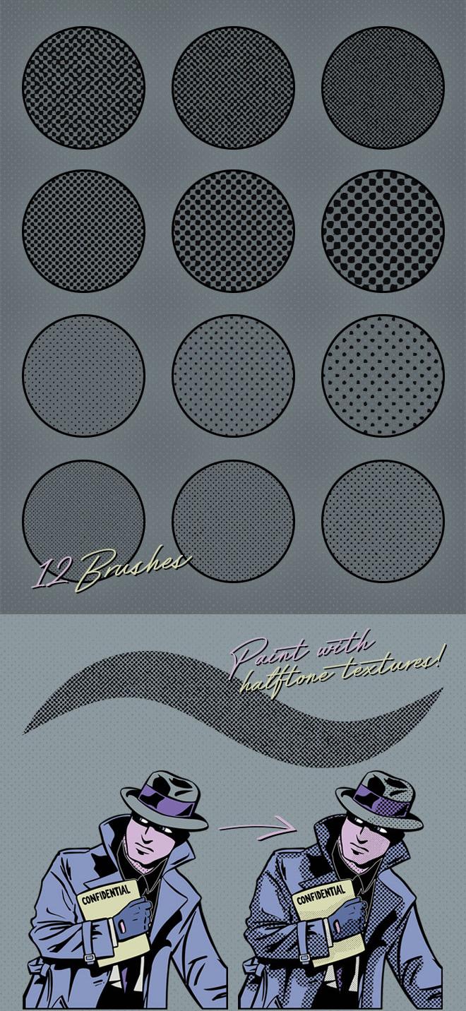 12 бесплатных полутоновых текстурных кистей