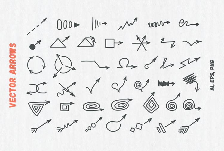 Узорчатые кисти и векторные стрелки