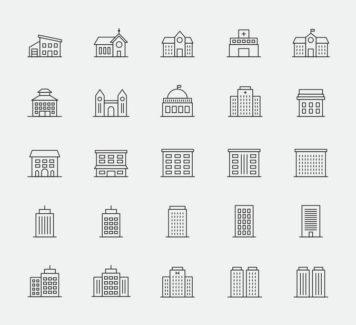 25 векторных иконок зданий