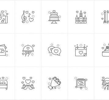 Свадебные векторные иконки