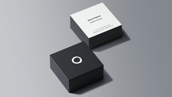 Square-Business Card Mockup