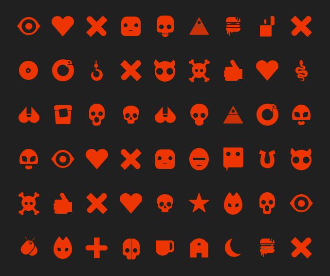 """Иконки и шрифт """"Love & Death + Robots"""""""