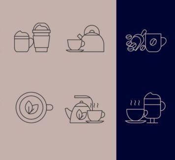 Векторные иконки кофе и чая