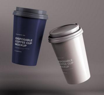 Макет одноразовой кофейной чашки
