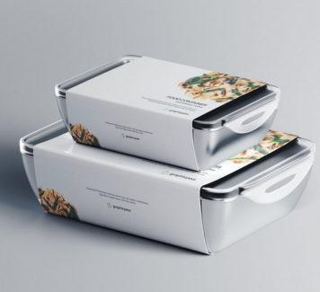Макет пищевых контейнеров с этикеткой