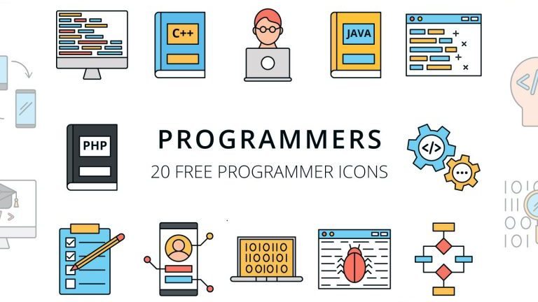 Векторный набор иконок для программиста