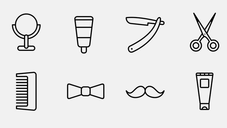 Векторные иконки для барбершопа