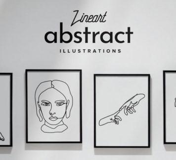 Абстрактные векторные иллюстрации Lineart