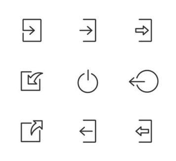 Векторные иконки входа и выхода из системы