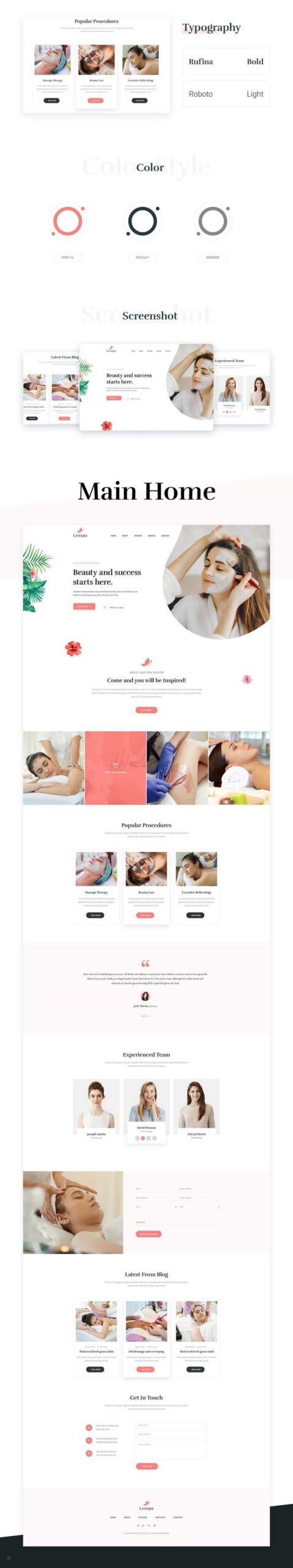 Leospa: бесплатный шаблон для салонов красоты