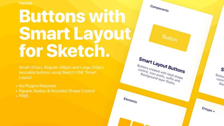 Кнопки с поддержкой интеллектуального макета для Sketch