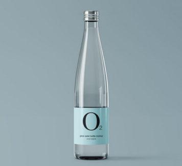 Макет стеклянной бутылки с водой