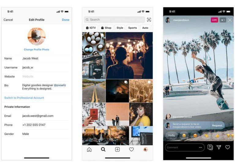 Пользовательский интерфейс Instagram