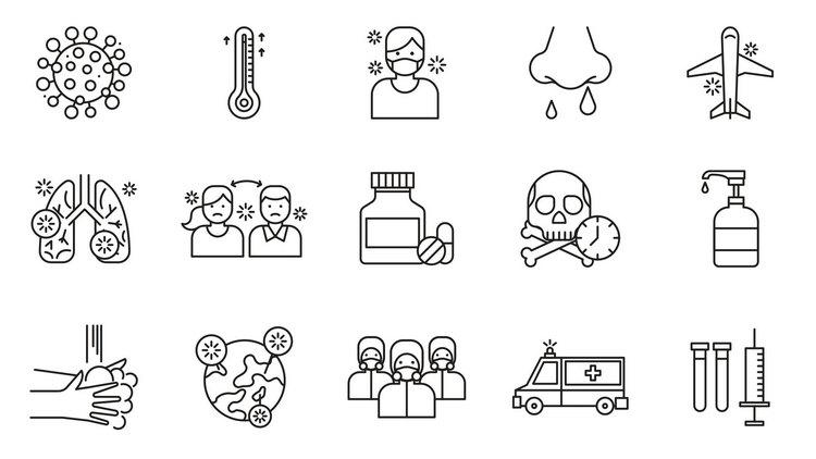 Векторные иконки на тему коронавируса