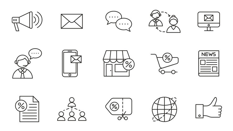 Векторные иконки на тему маркетинга