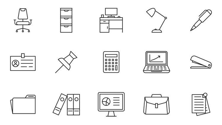 20 офисных векторных иконок