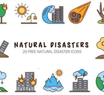 Векторные иконки на тему катастроф