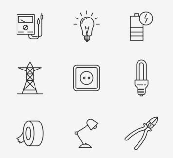 20 векторных иконок на тему электричества