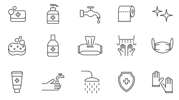 20 векторных иконок на тему гигиены