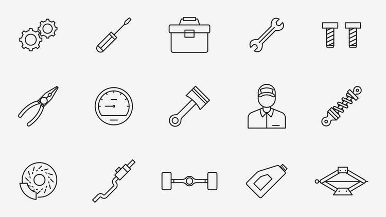 20 механических векторных иконок