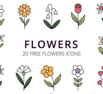 Набор цветочных иконок