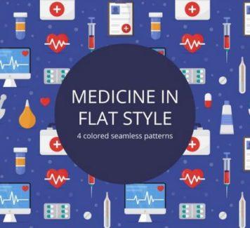Паттерны на тему медицины в flat-стиле