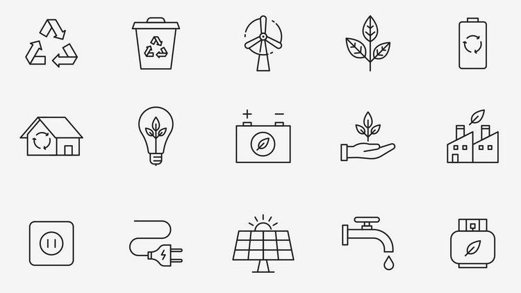 Векторные иконки на тему экологии
