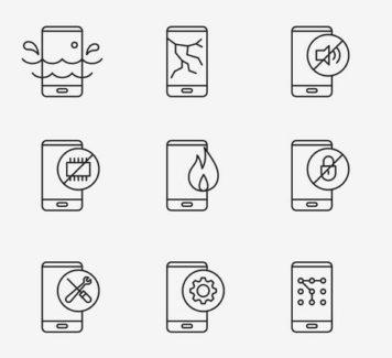 Векторные иконки ремонта смартфонов