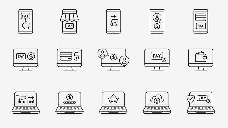 Векторные иконки онлайн-платежей