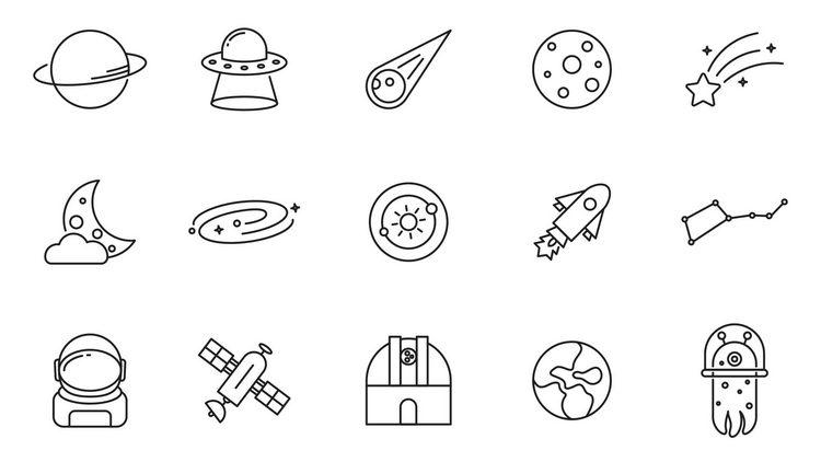 20 векторных иконок космической тематики