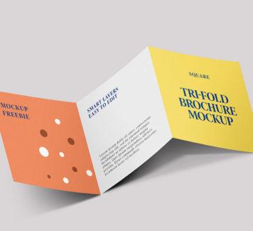 Мокап брошюры Square Trifold