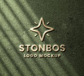 Мокап логотипа Stone Emboss